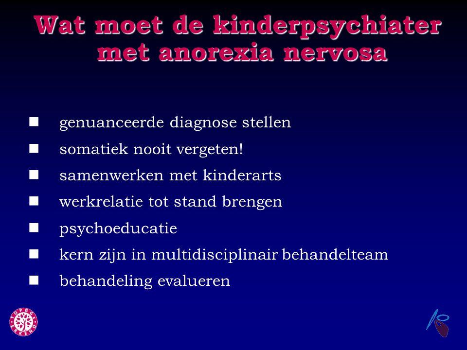 Wat moet de kinderpsychiater met anorexia nervosa genuanceerde diagnose stellen somatiek nooit vergeten! samenwerken met kinderarts werkrelatie tot st