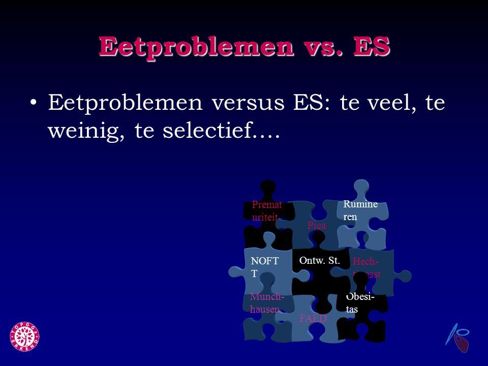 Eetproblemen vs. ES Eetproblemen versus ES: te veel, te weinig, te selectief…. Hech- tingsst FAED Obesi- tas Ontw. St. NOFT T Munch- hausen Pica Rumin