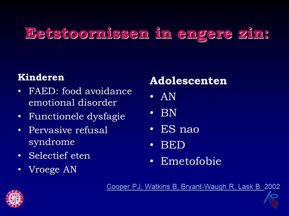 Eetstoornissen in engere zin: Kinderen FAED: food avoidance emotional disorder Functionele dysfagie Pervasive refusal syndrome Selectief eten Vroege A