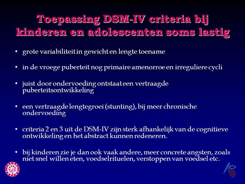 Toepassing DSM-IV criteria bij kinderen en adolescenten soms lastig grote variabiliteit in gewicht en lengte toename in de vroege puberteit nog primai