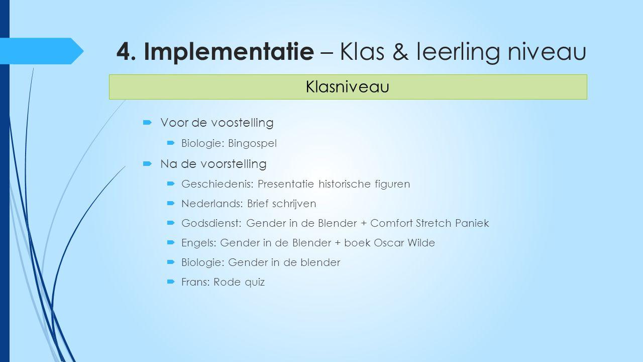 4. Implementatie – Klas & leerling niveau  Voor de voostelling  Biologie: Bingospel  Na de voorstelling  Geschiedenis: Presentatie historische fig