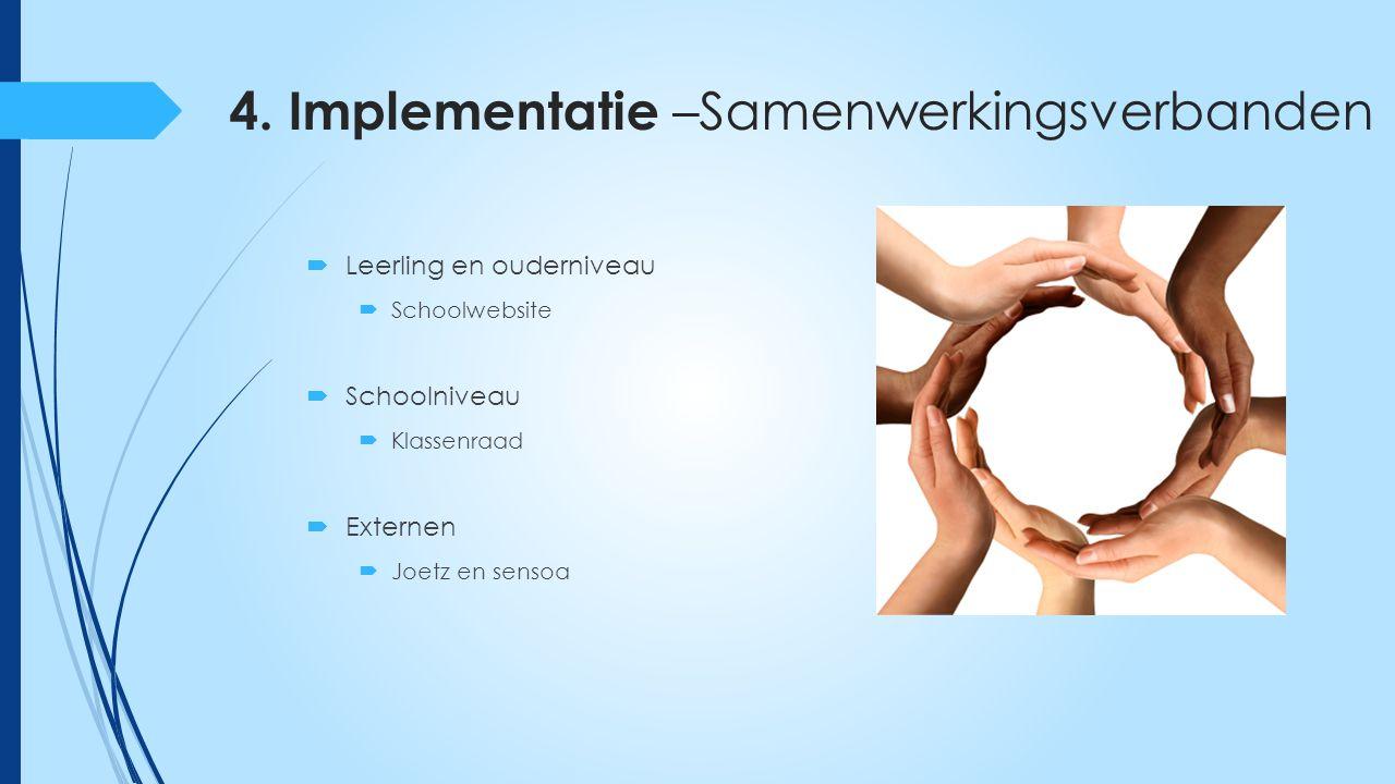 4. Implementatie –Samenwerkingsverbanden  Leerling en ouderniveau  Schoolwebsite  Schoolniveau  Klassenraad  Externen  Joetz en sensoa