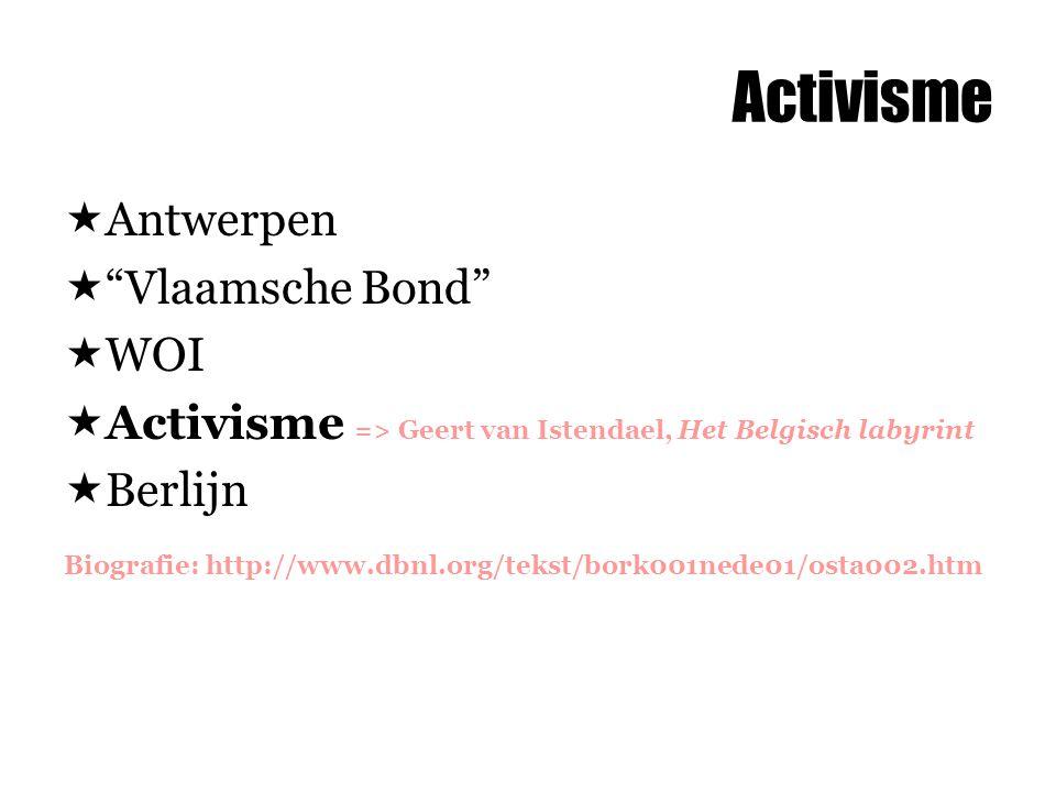 """Activisme  Antwerpen  """"Vlaamsche Bond""""  WOI  Activisme => Geert van Istendael, Het Belgisch labyrint  Berlijn Biografie: http://www.dbnl.org/teks"""
