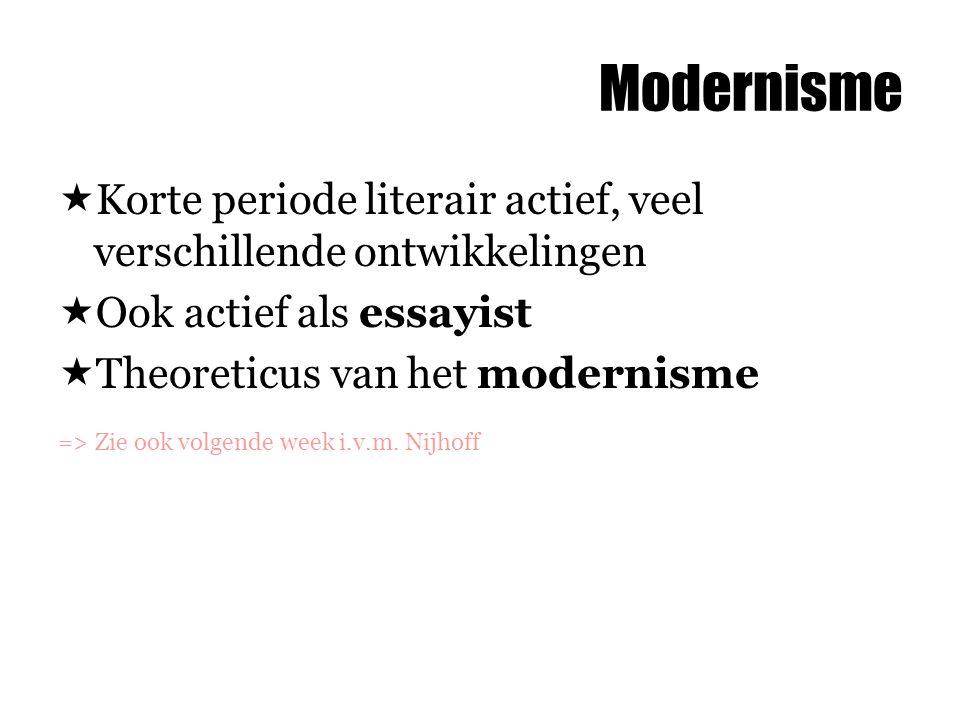 Modernisme  Korte periode literair actief, veel verschillende ontwikkelingen  Ook actief als essayist  Theoreticus van het modernisme => Zie ook vo
