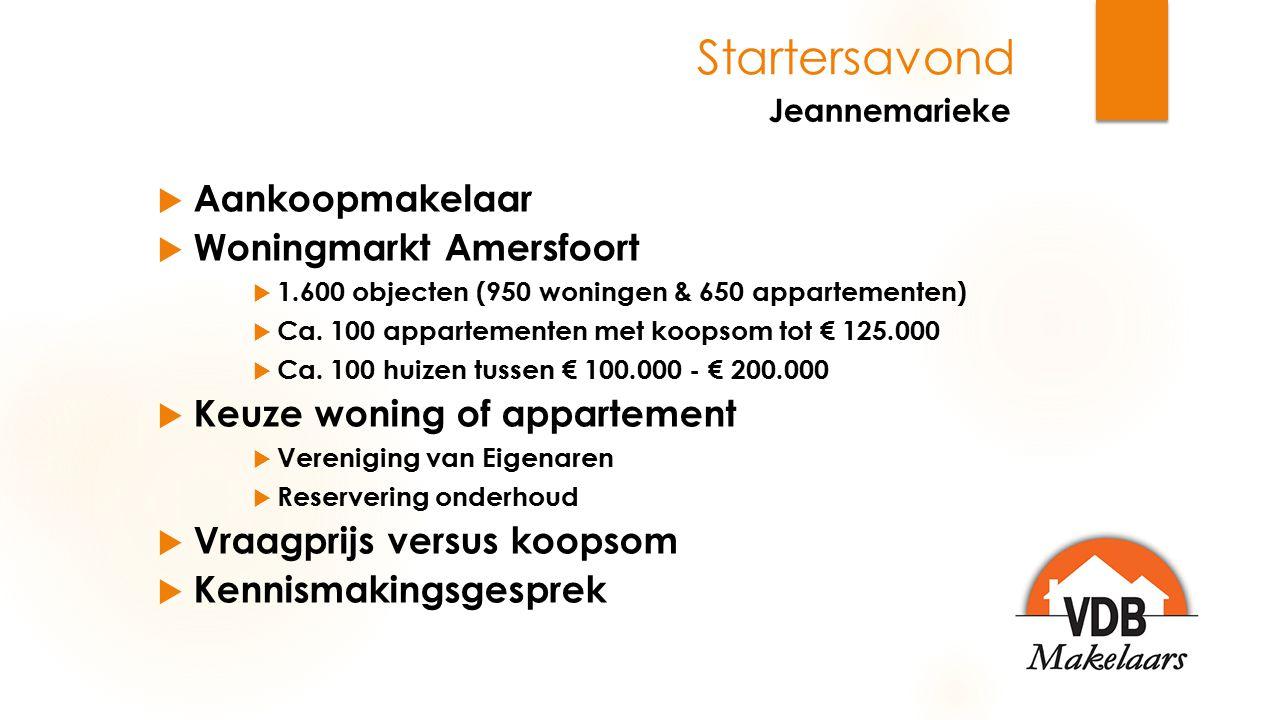 Startersavond  Aankoopmakelaar  Woningmarkt Amersfoort  1.600 objecten (950 woningen & 650 appartementen)  Ca. 100 appartementen met koopsom tot €