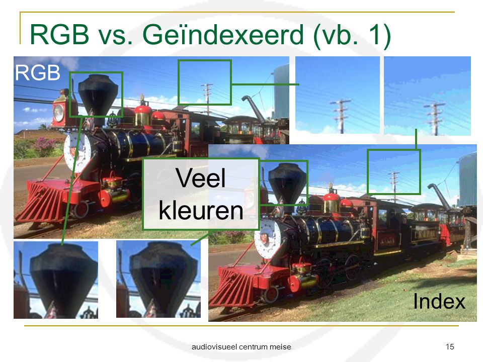 audiovisueel centrum meise 15 RGB vs. Geïndexeerd (vb. 1) RGB Index Veel kleuren