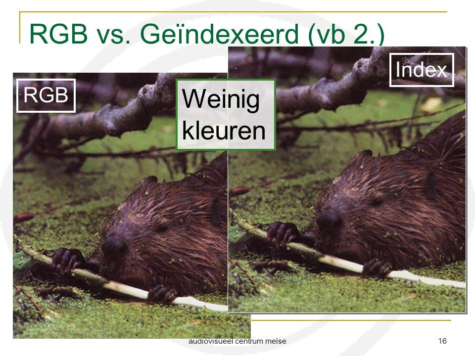 audiovisueel centrum meise 16 RGB vs. Geïndexeerd (vb 2.) RGB Index Weinig kleuren