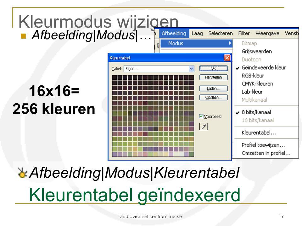 audiovisueel centrum meise 17 Kleurmodus wijzigen Afbeelding|Modus|… Kleurentabel geïndexeerd 16x16= 256 kleuren Afbeelding|Modus|Kleurentabel