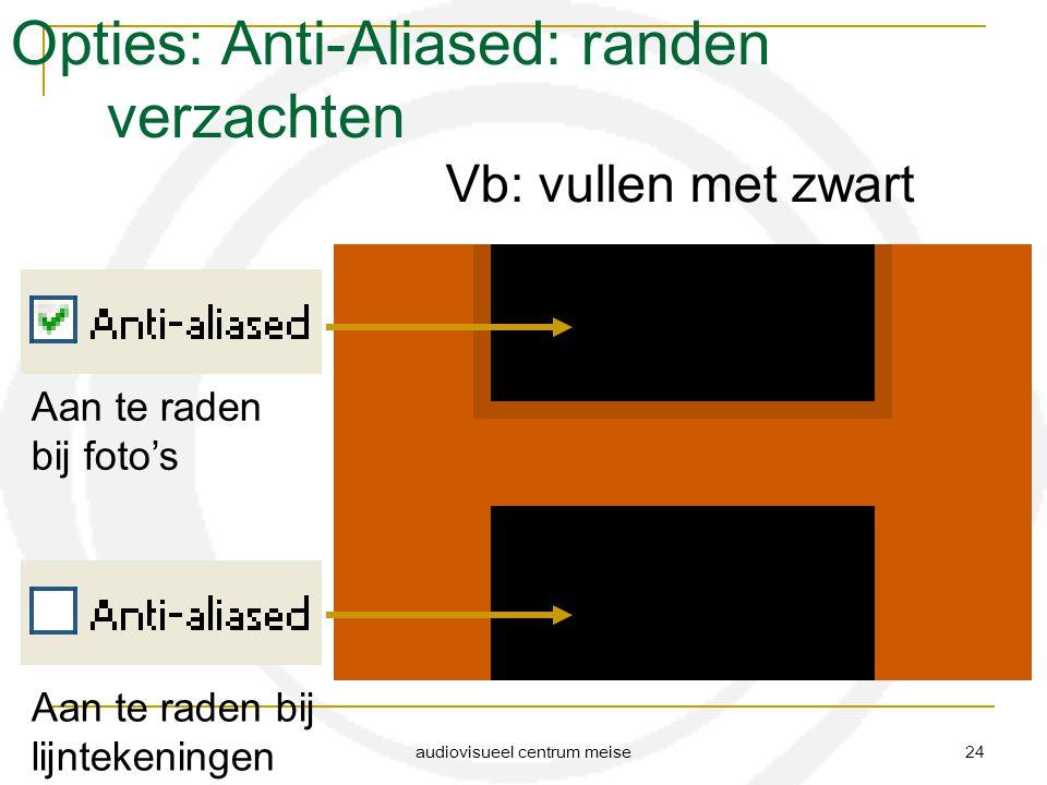 audiovisueel centrum meise 24 Opties: Anti-Aliased: randen verzachten Vb: vullen met zwart Aan te raden bij foto's Aan te raden bij lijntekeningen