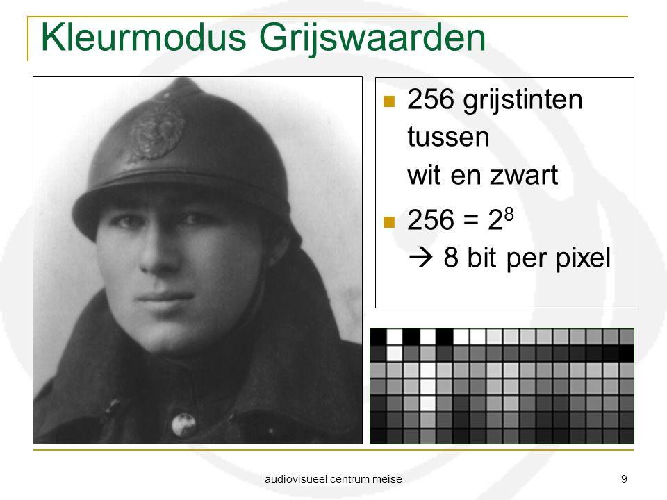 audiovisueel centrum meise 9 Kleurmodus Grijswaarden 256 grijstinten tussen wit en zwart 256 = 2 8  8 bit per pixel