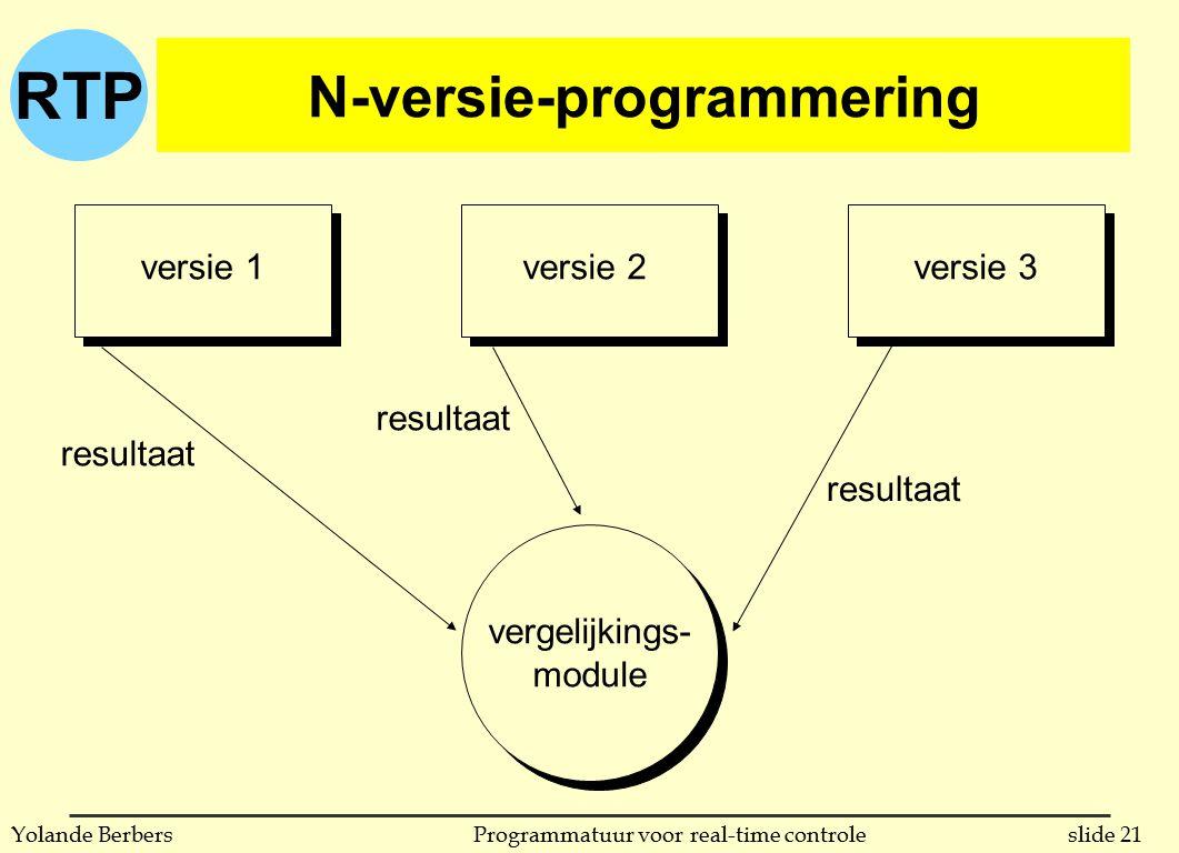 RTP slide 21Programmatuur voor real-time controleYolande Berbers N-versie-programmering versie 1versie 2versie 3 resultaat vergelijkings- module
