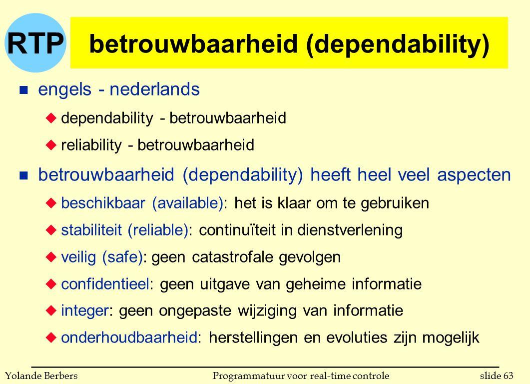 RTP slide 63Programmatuur voor real-time controleYolande Berbers betrouwbaarheid (dependability) n engels - nederlands u dependability - betrouwbaarheid u reliability - betrouwbaarheid n betrouwbaarheid (dependability) heeft heel veel aspecten u beschikbaar (available): het is klaar om te gebruiken u stabiliteit (reliable): continuïteit in dienstverlening u veilig (safe): geen catastrofale gevolgen u confidentieel: geen uitgave van geheime informatie u integer: geen ongepaste wijziging van informatie u onderhoudbaarheid: herstellingen en evoluties zijn mogelijk