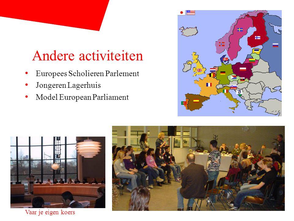 Vaar je eigen koers Andere activiteiten Europees Scholieren Parlement Jongeren Lagerhuis Model European Parliament