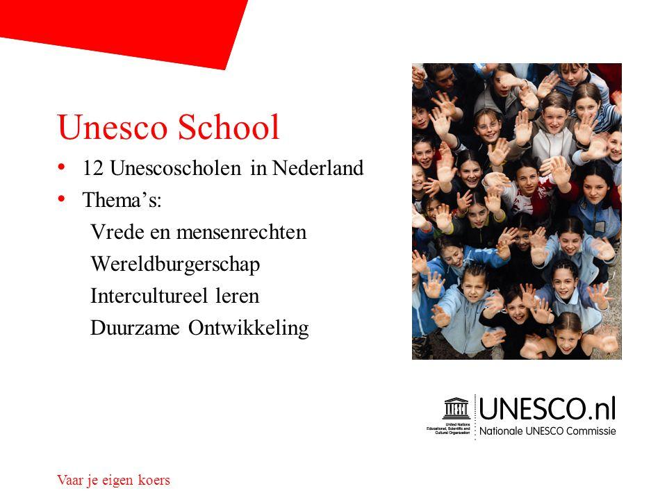Vaar je eigen koers Unesco School 12 Unescoscholen in Nederland Thema's: Vrede en mensenrechten Wereldburgerschap Intercultureel leren Duurzame Ontwik