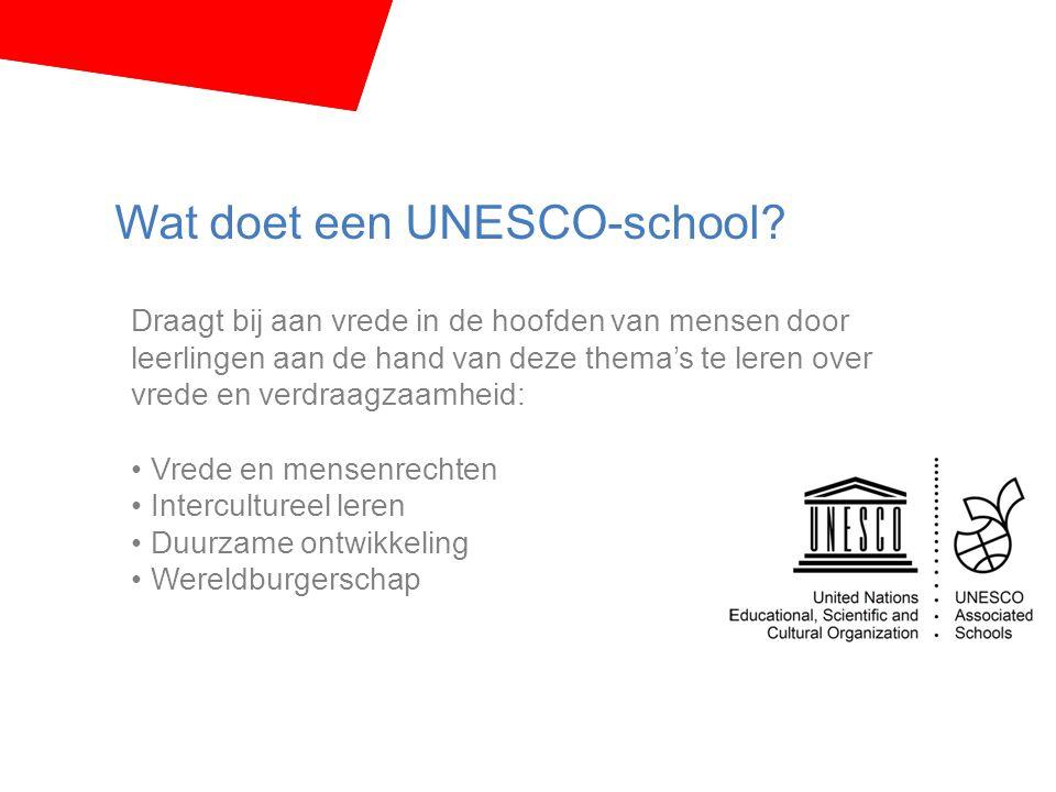 Wat doet een UNESCO-school? Draagt bij aan vrede in de hoofden van mensen door leerlingen aan de hand van deze thema's te leren over vrede en verdraag