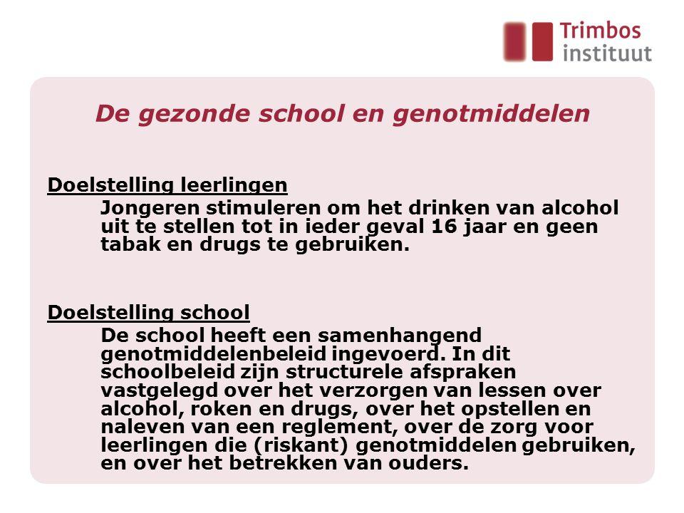 Doelstelling leerlingen Jongeren stimuleren om het drinken van alcohol uit te stellen tot in ieder geval 16 jaar en geen tabak en drugs te gebruiken.