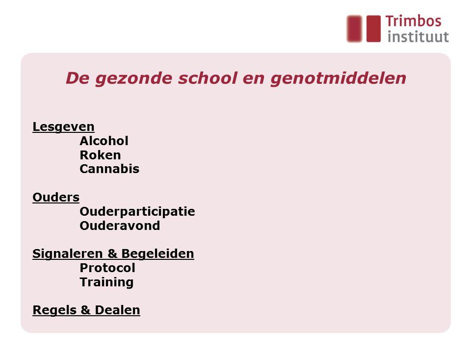 De gezonde school en genotmiddelen Lesgeven Alcohol Roken Cannabis Ouders Ouderparticipatie Ouderavond Signaleren & Begeleiden Protocol Training Regel