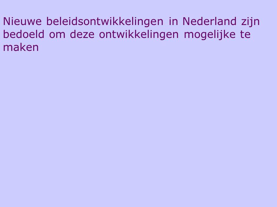 Nieuwe beleidsontwikkelingen in Nederland zijn bedoeld om deze ontwikkelingen mogelijke te maken