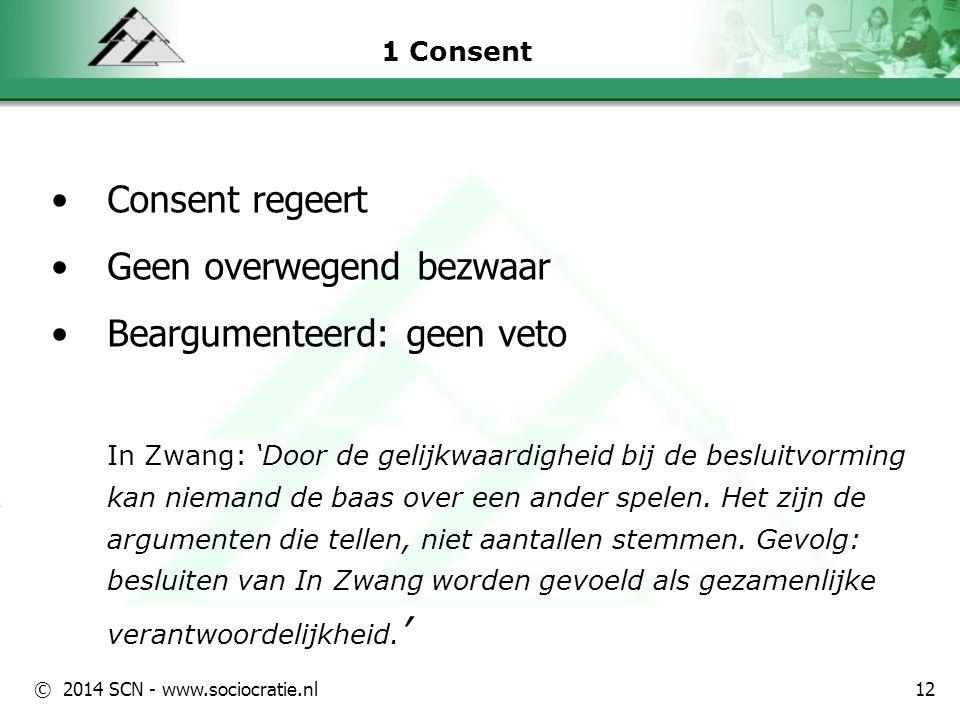 © 2014 SCN - www.sociocratie.nl 1 Consent Consent regeert Geen overwegend bezwaar Beargumenteerd: geen veto In Zwang: 'Door de gelijkwaardigheid bij d