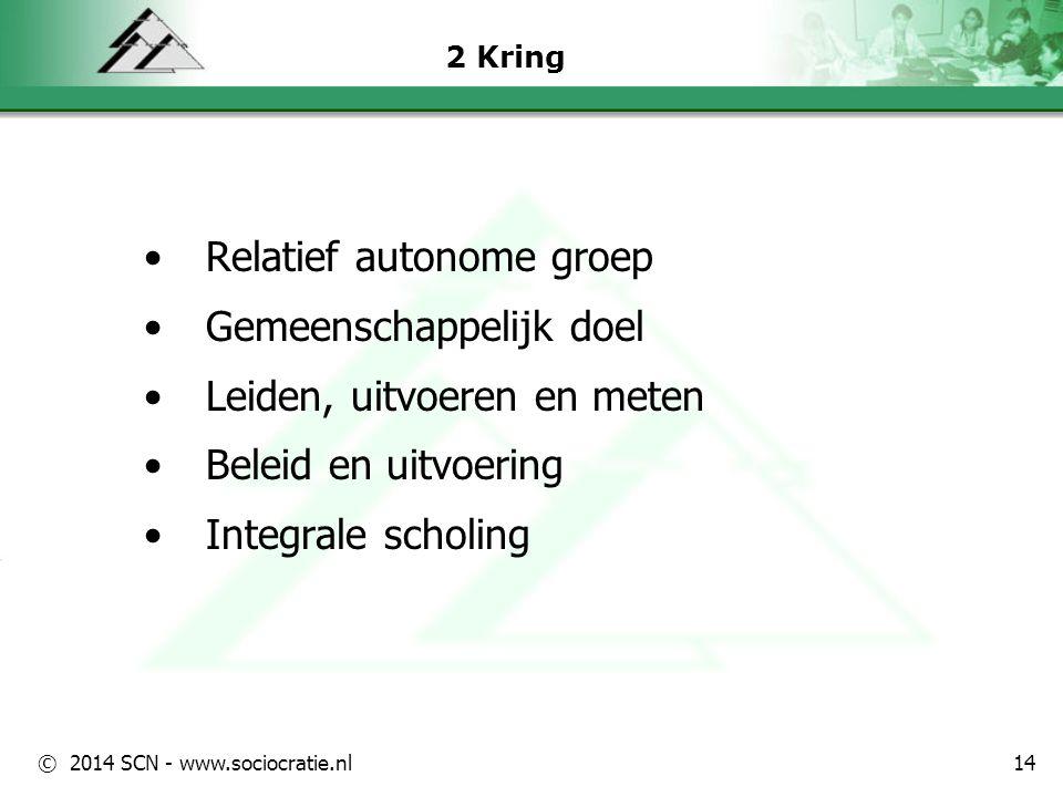 © 2014 SCN - www.sociocratie.nl 2 Kring Relatief autonome groep Gemeenschappelijk doel Leiden, uitvoeren en meten Beleid en uitvoering Integrale schol