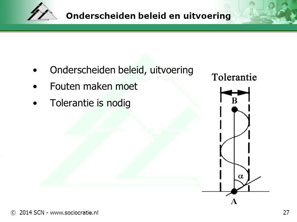 © 2014 SCN - www.sociocratie.nl Onderscheiden beleid en uitvoering Onderscheiden beleid, uitvoering Fouten maken moet Tolerantie is nodig 27