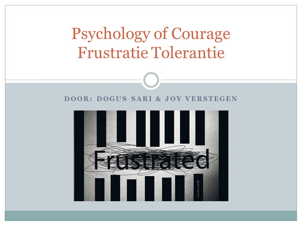 DOOR: DOGUS SARI & JOY VERSTEGEN Psychology of Courage Frustratie Tolerantie