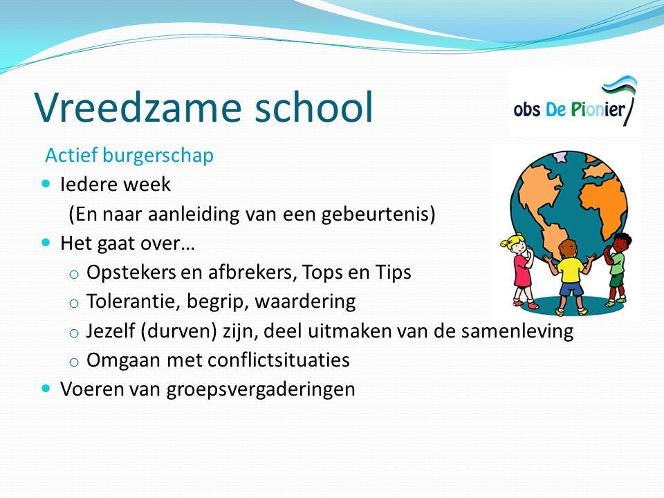 Vreedzame school Actief burgerschap Iedere week (En naar aanleiding van een gebeurtenis) Het gaat over… o Opstekers en afbrekers, Tops en Tips o Toler