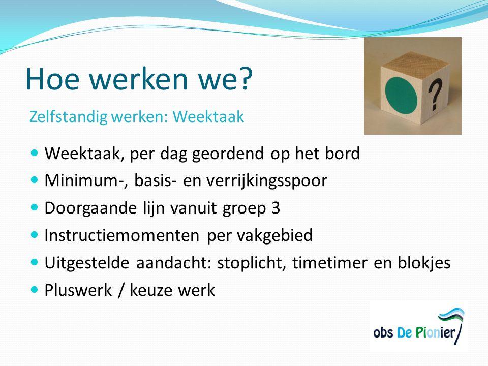 Hoe werken we? Zelfstandig werken: Weektaak Weektaak, per dag geordend op het bord Minimum-, basis- en verrijkingsspoor Doorgaande lijn vanuit groep 3