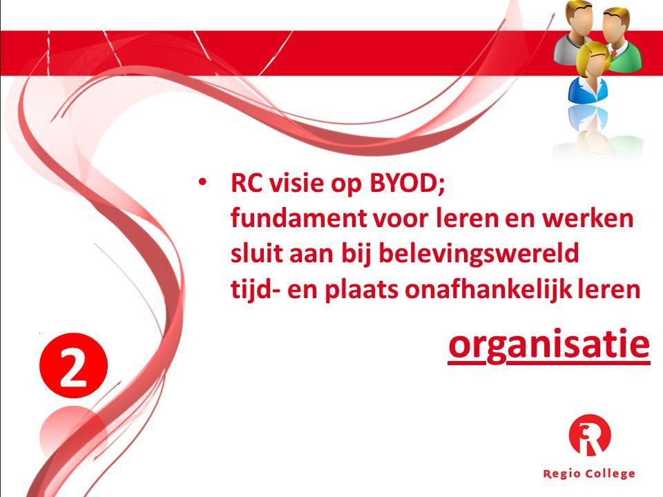 organisatie 2 RC visie op BYOD; fundament voor leren en werken sluit aan bij belevingswereld tijd- en plaats onafhankelijk leren