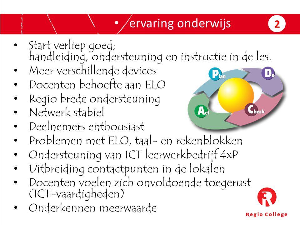 Start verliep goed; handleiding, ondersteuning en instructie in de les. Meer verschillende devices Docenten behoefte aan ELO Regio brede ondersteuning