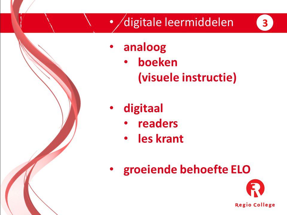 digitale leermiddelen analoog boeken (visuele instructie) digitaal readers les krant groeiende behoefte ELO 3