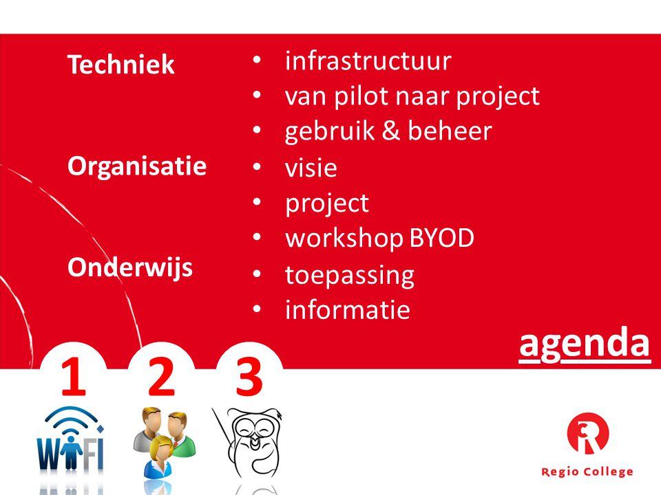 agenda 1 Organisatie Techniek Onderwijs infrastructuur van pilot naar project gebruik & beheer visie project workshop BYOD toepassing informatie 23