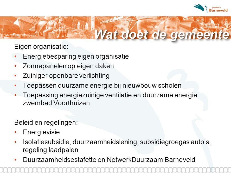Wat doet de gemeente Eigen organisatie: Energiebesparing eigen organisatie Zonnepanelen op eigen daken Zuiniger openbare verlichting Toepassen duurzam