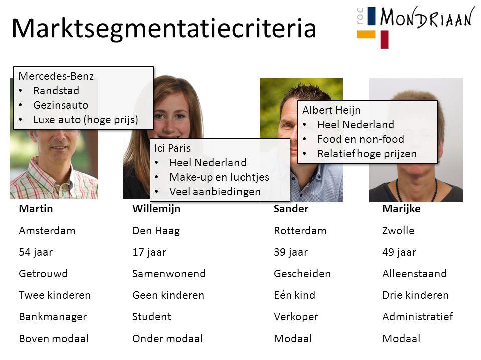 Marktsegmentatiecriteria MartinWillemijnSanderMarijke AmsterdamDen HaagRotterdamZwolle 54 jaar17 jaar39 jaar49 jaar GetrouwdSamenwonendGescheidenAllee