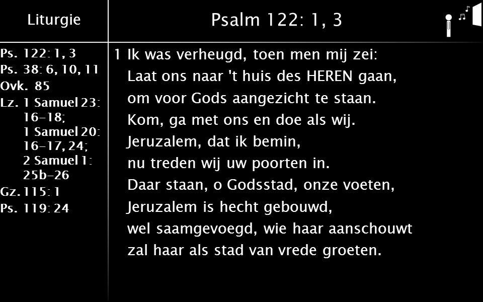 Liturgie Ps.122: 1, 3 Ps.38: 6, 10, 11 Ovk.85 Lz.1 Samuel 23: 16-18; 1 Samuel 20: 16-17, 24; 2 Samuel 1: 25b-26 Gz.115: 1 Ps.119: 24 Psalm 122: 1, 3 1Ik was verheugd, toen men mij zei: Laat ons naar t huis des HEREN gaan, om voor Gods aangezicht te staan.