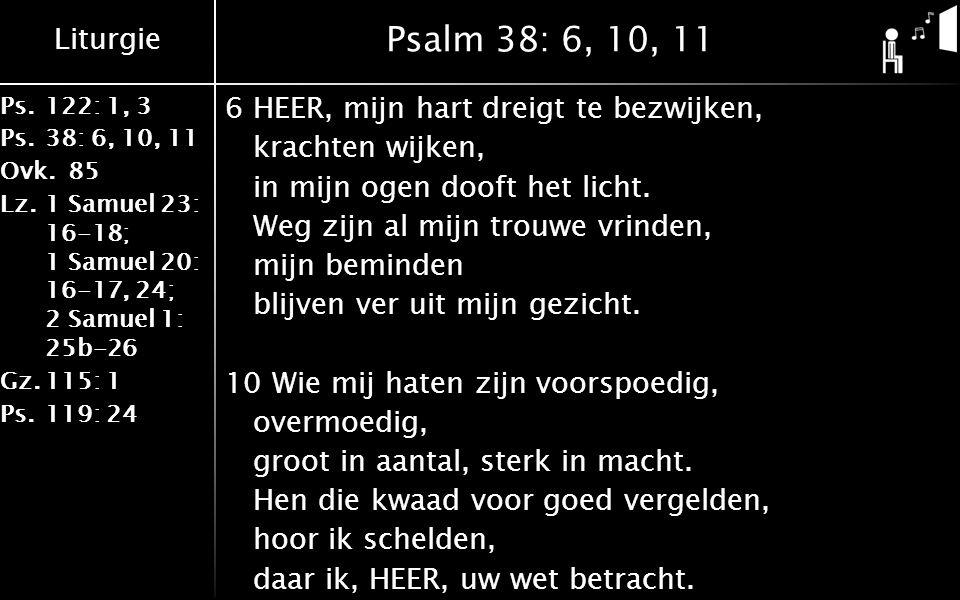 Liturgie Ps.122: 1, 3 Ps.38: 6, 10, 11 Ovk.85 Lz.1 Samuel 23: 16-18; 1 Samuel 20: 16-17, 24; 2 Samuel 1: 25b-26 Gz.115: 1 Ps.119: 24 Psalm 38: 6, 10, 11 6HEER, mijn hart dreigt te bezwijken, krachten wijken, in mijn ogen dooft het licht.