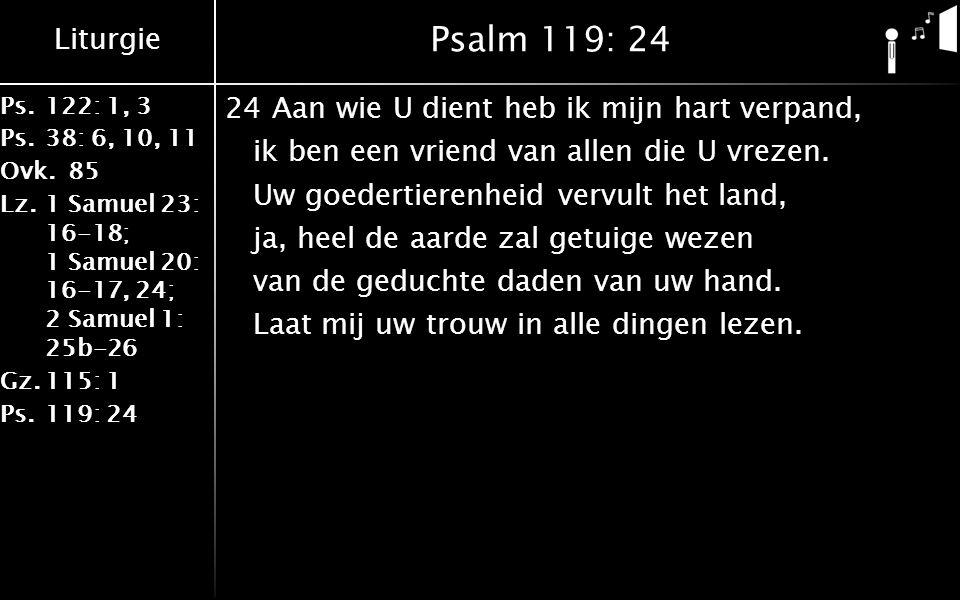 Liturgie Ps.122: 1, 3 Ps.38: 6, 10, 11 Ovk.85 Lz.1 Samuel 23: 16-18; 1 Samuel 20: 16-17, 24; 2 Samuel 1: 25b-26 Gz.115: 1 Ps.119: 24 Psalm 119: 24 24Aan wie U dient heb ik mijn hart verpand, ik ben een vriend van allen die U vrezen.