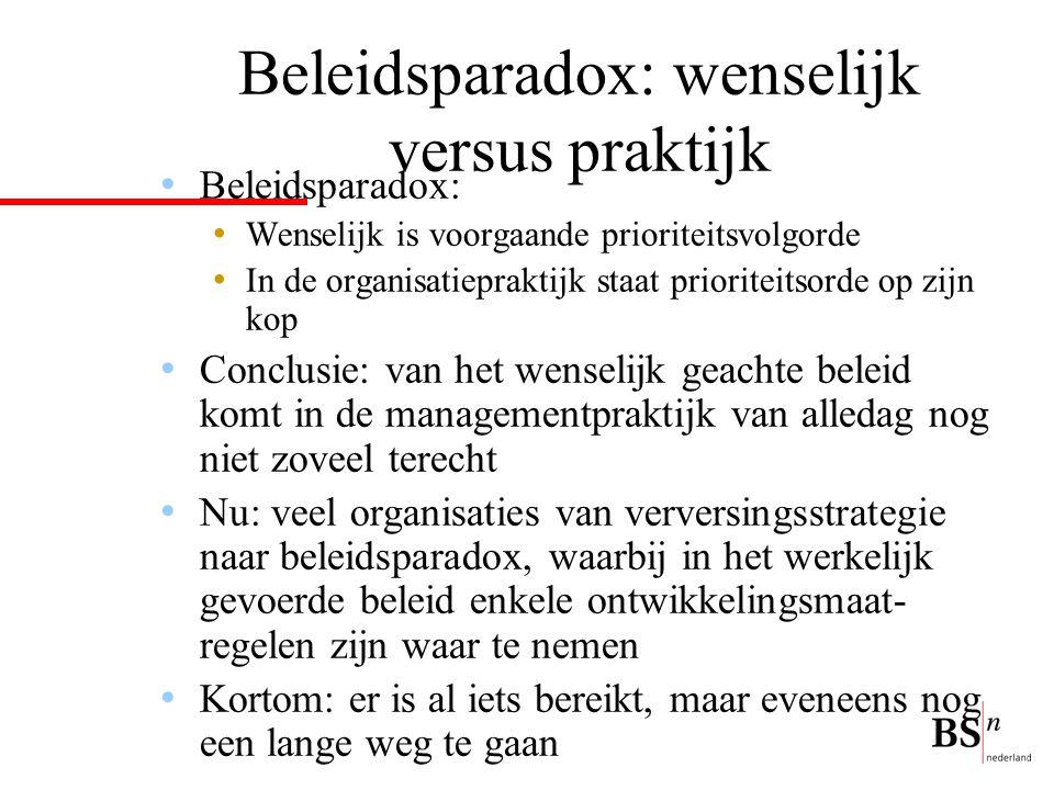 Beleidsparadox: wenselijk versus praktijk Beleidsparadox: Wenselijk is voorgaande prioriteitsvolgorde In de organisatiepraktijk staat prioriteitsorde