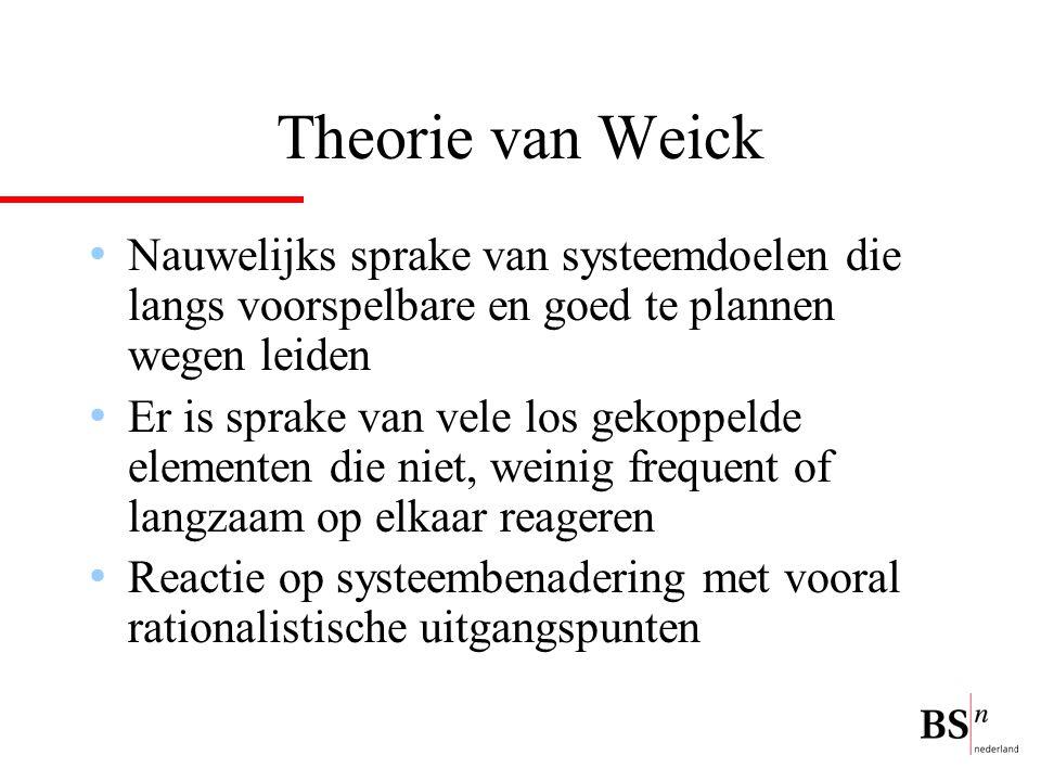 Theorie van Weick Nauwelijks sprake van systeemdoelen die langs voorspelbare en goed te plannen wegen leiden Er is sprake van vele los gekoppelde elem