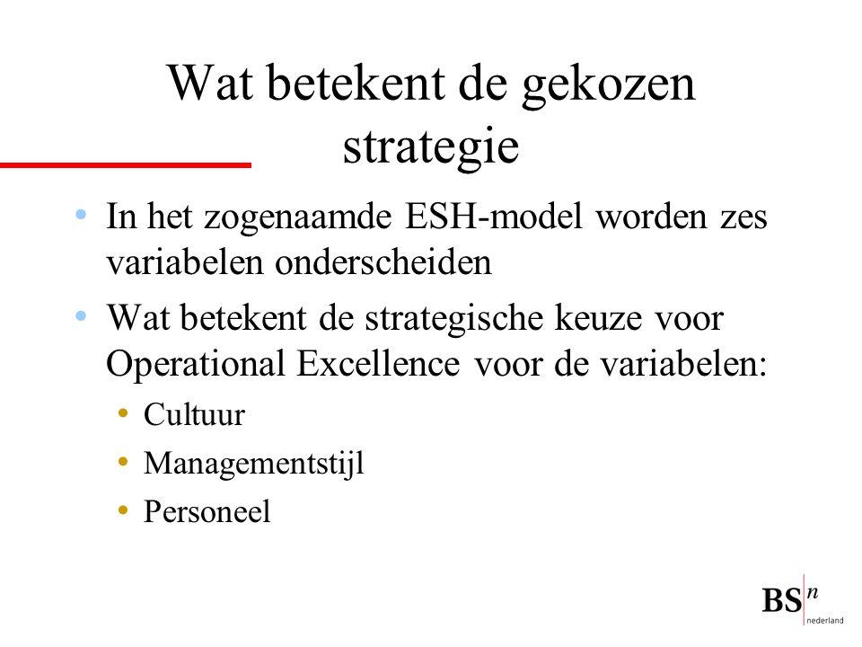 Wat betekent de gekozen strategie In het zogenaamde ESH-model worden zes variabelen onderscheiden Wat betekent de strategische keuze voor Operational