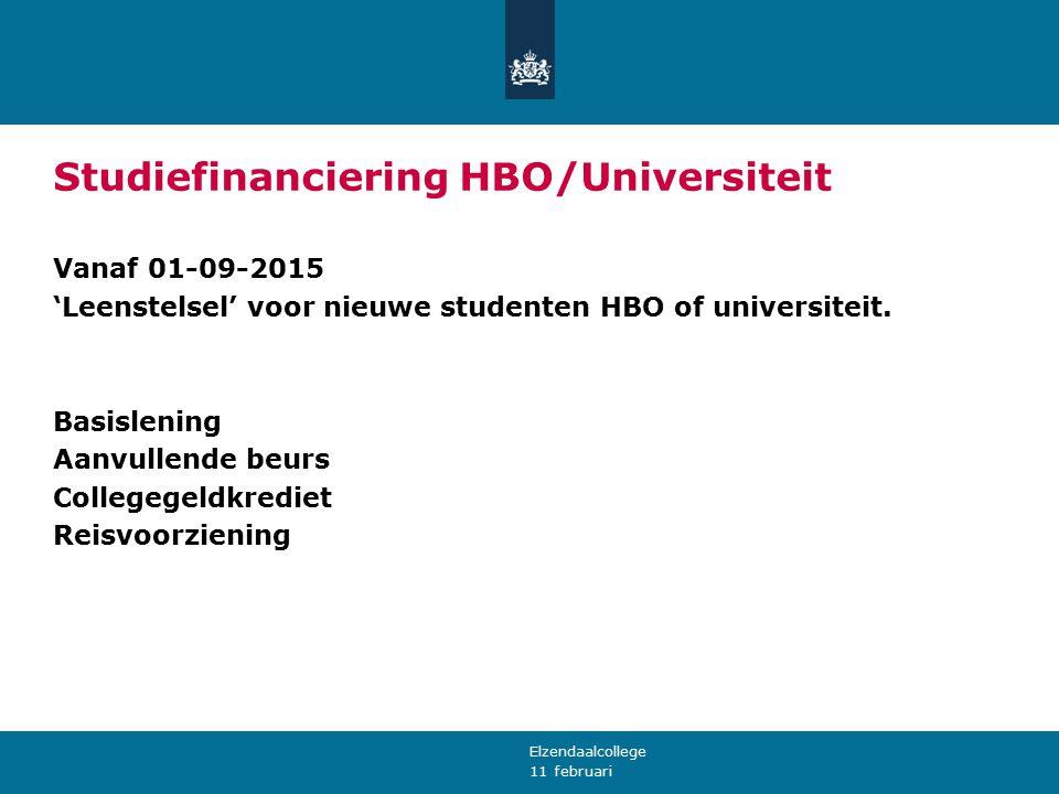 11 februari Studiefinanciering HBO/Universiteit Vanaf 01-09-2015 'Leenstelsel' voor nieuwe studenten HBO of universiteit. Basislening Aanvullende beur