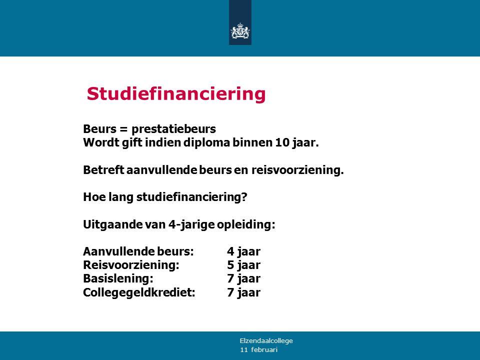 11 februari Studiefinanciering Beurs = prestatiebeurs Wordt gift indien diploma binnen 10 jaar. Betreft aanvullende beurs en reisvoorziening. Hoe lang