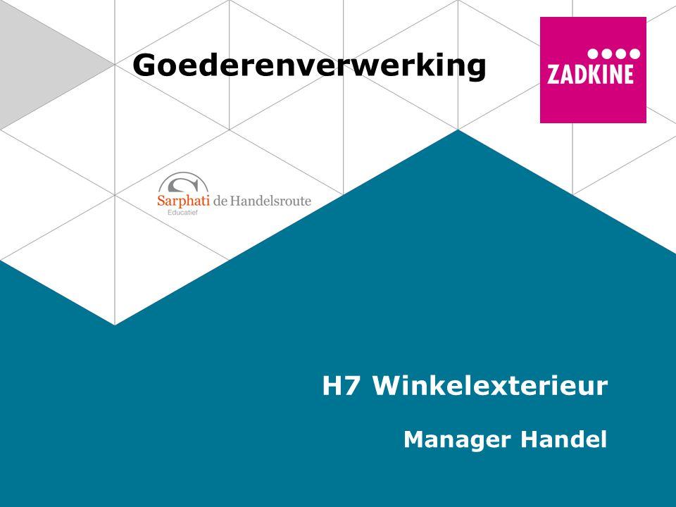 Front Etalage Winkelgevel en winkelingang Buitenpresentatie 2 Goederenverwerking | Manager Handel Winkelexterieur