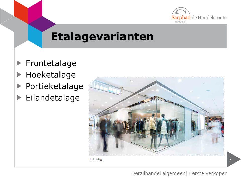 Frontetalage Hoeketalage Portieketalage Eilandetalage 6 Detailhandel algemeen| Eerste verkoper Etalagevarianten