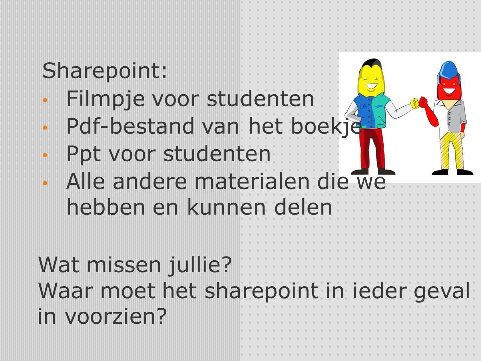 Sharepoint: Filmpje voor studenten Pdf-bestand van het boekje Ppt voor studenten Alle andere materialen die we hebben en kunnen delen Wat missen jullie.