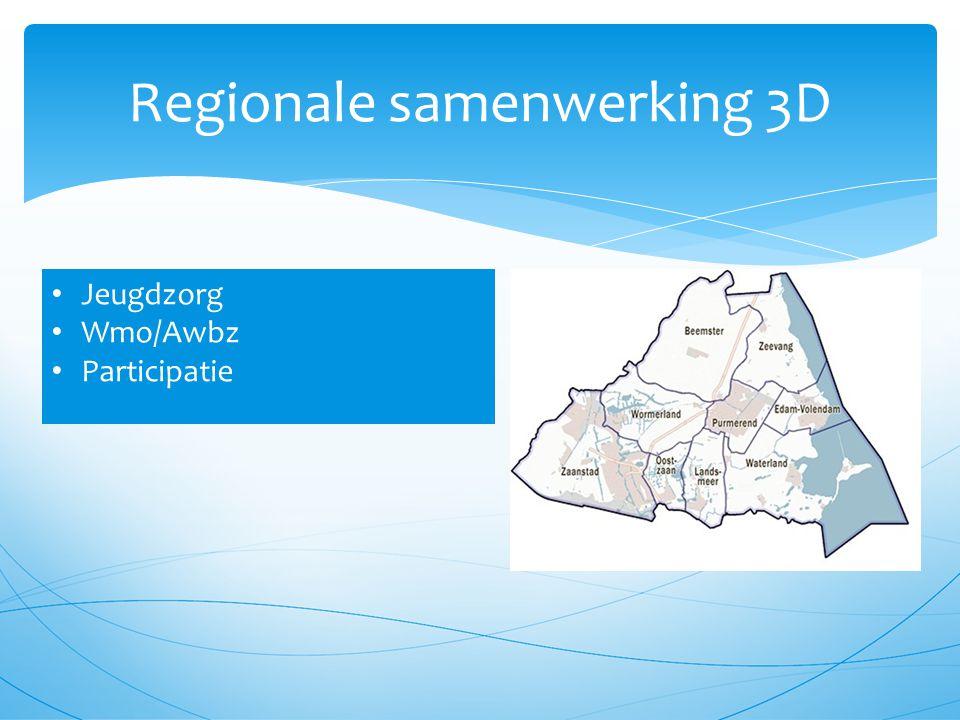 Regionale samenwerking 3D Jeugdzorg Wmo/Awbz Participatie