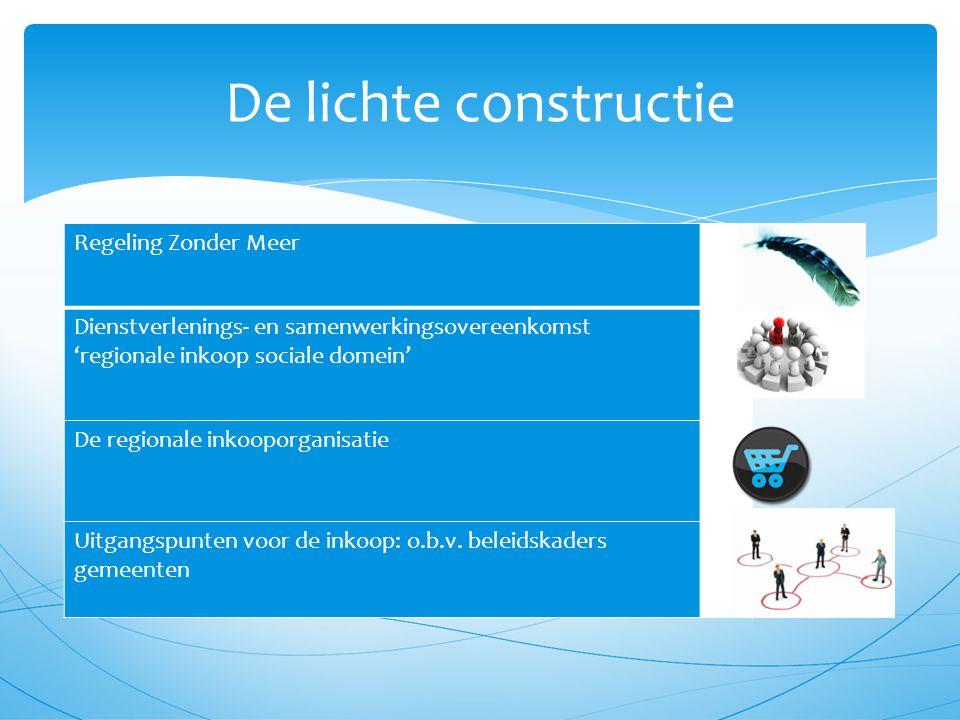 De lichte constructie Regeling Zonder Meer Dienstverlenings- en samenwerkingsovereenkomst 'regionale inkoop sociale domein' De regionale inkooporganisatie Uitgangspunten voor de inkoop: o.b.v.