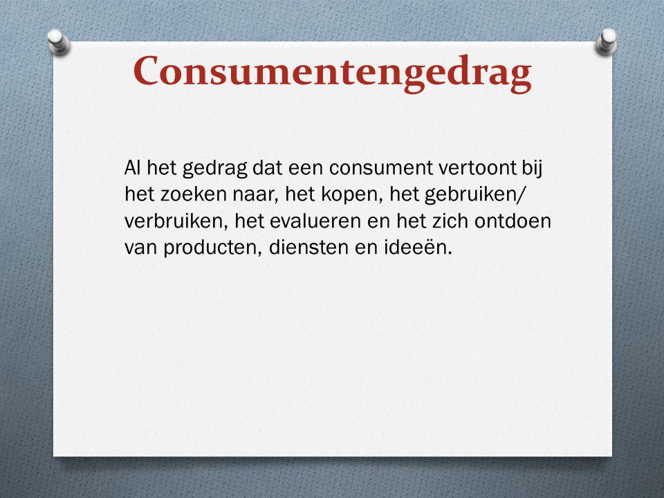 Al het gedrag dat een consument vertoont bij het zoeken naar, het kopen, het gebruiken/ verbruiken, het evalueren en het zich ontdoen van producten, d