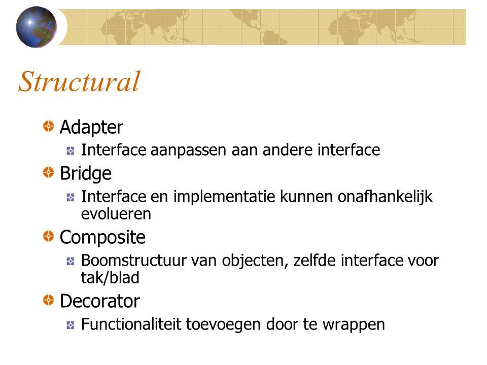 Structural Adapter Interface aanpassen aan andere interface Bridge Interface en implementatie kunnen onafhankelijk evolueren Composite Boomstructuur v