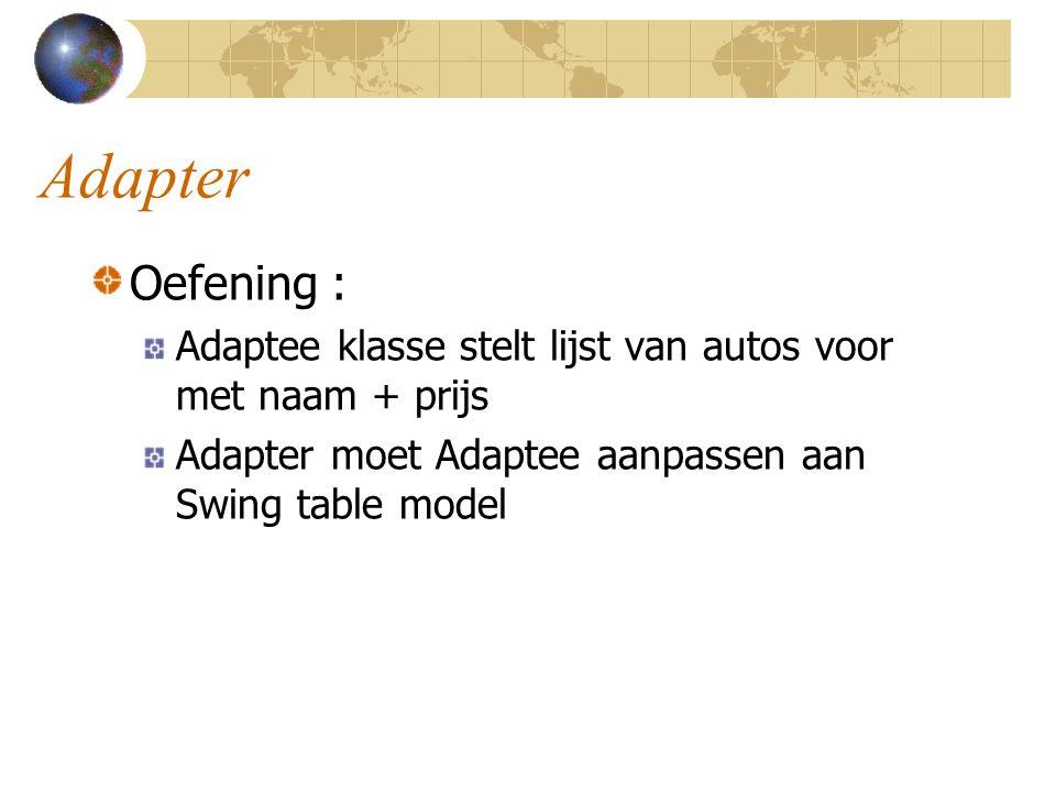 Adapter Oefening : Adaptee klasse stelt lijst van autos voor met naam + prijs Adapter moet Adaptee aanpassen aan Swing table model